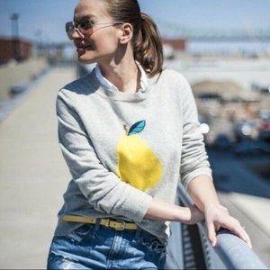 J Crew Gray Pear Merino Wool Blend Crew Neck Sweater